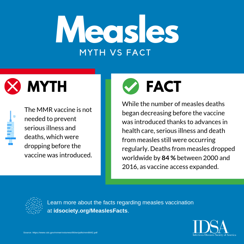 The Autism Vaccine Myth >> New Idsa Patient Fact Sheet Social Graphics Debunk Measles Vaccine
